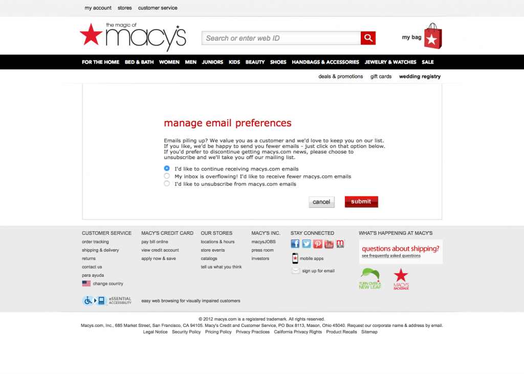 Macy's Unsubscribe Page