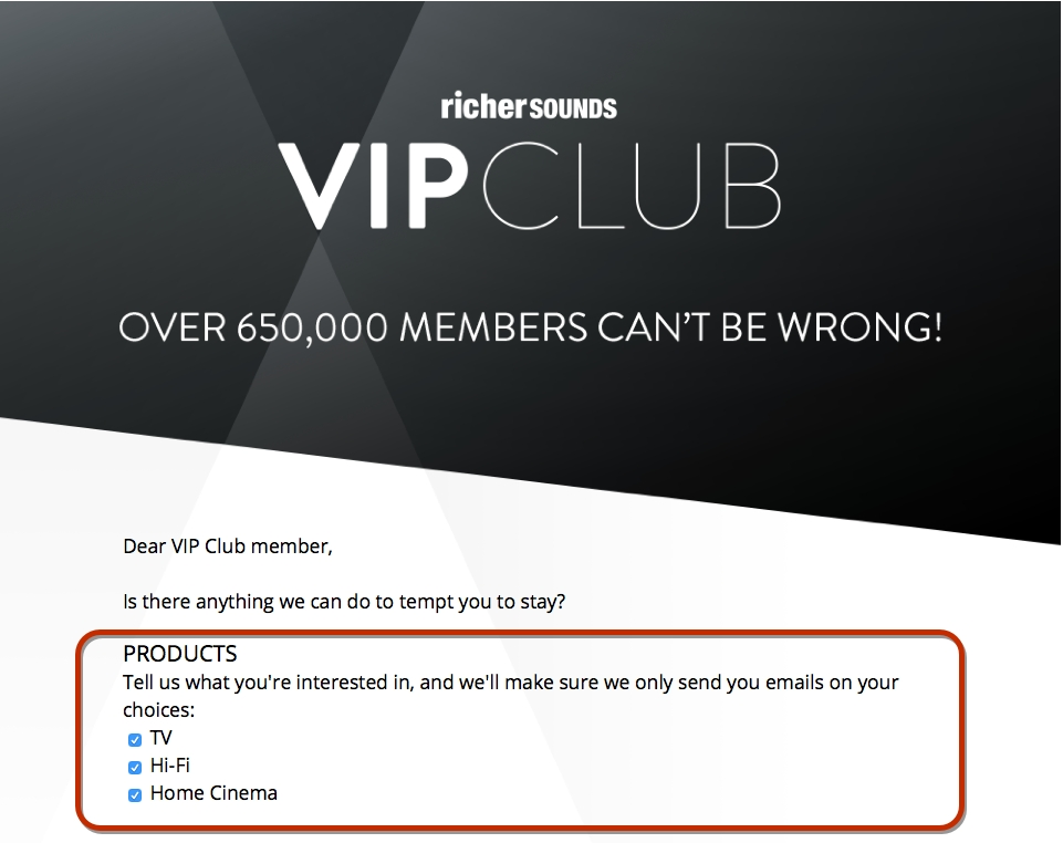Richer Sounds Unsubscribe Page