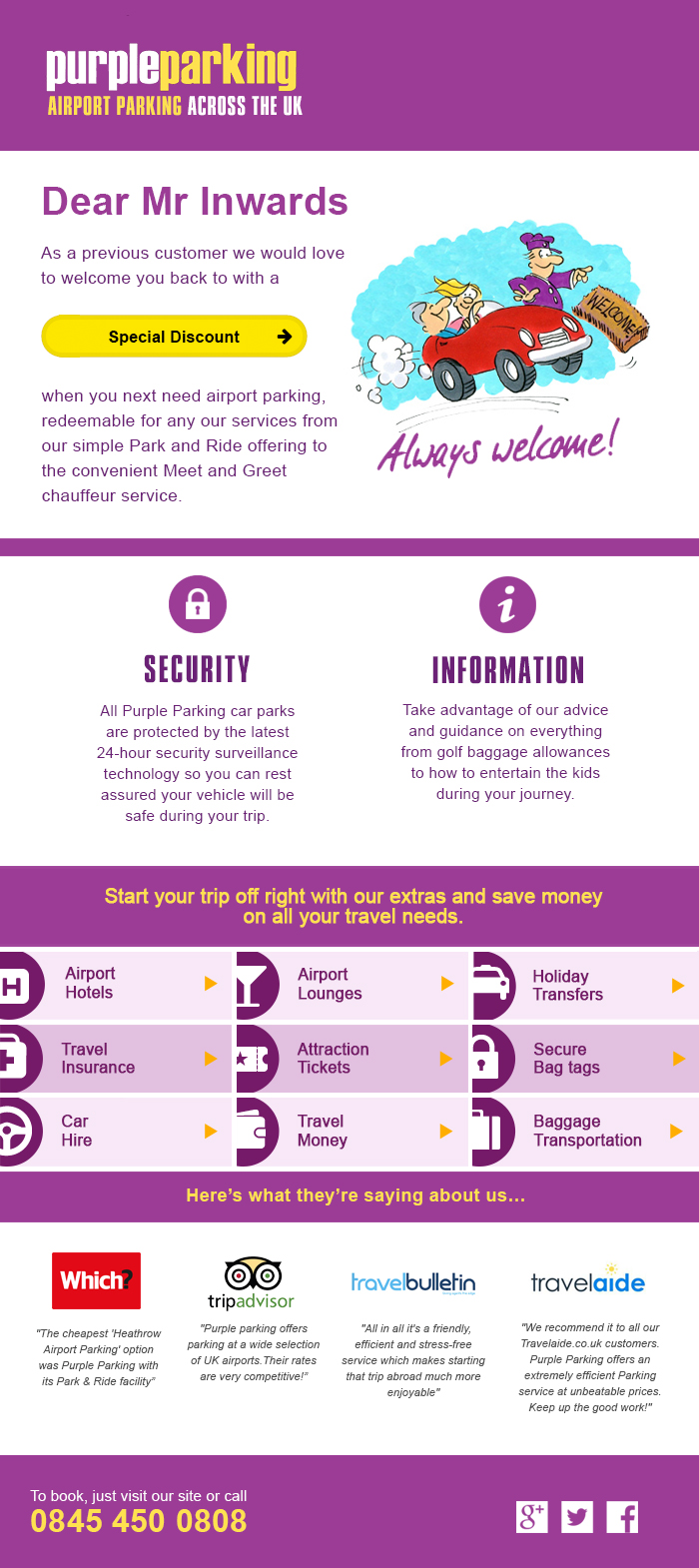 Purple Parking automated email